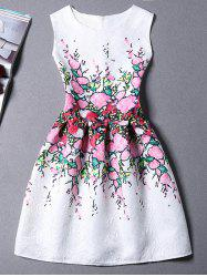 Floral Print A Line Mini Sleeveless Dress