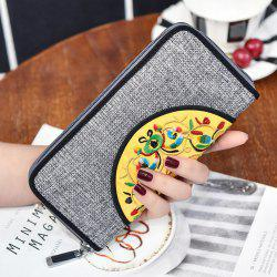 Ethnic Embroidered Zip Around Wallet