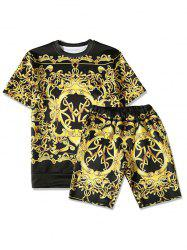Two Tone Print T-Shirt and Elastic Waist Shorts