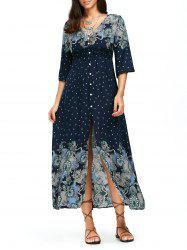 High Split Button Up Bohemian Midi Dress - CADETBLUE