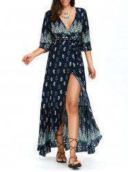 Bohemian Print Asymmetrical Wrap Maxi Dress
