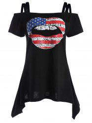 American Flag Graphic Patriotic Cold Shoulder Tee - BLACK