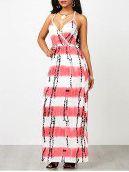 Ombre Stripe Long Criss Cross Backless Slip Dress