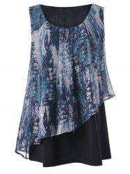 Graphic Overlay Sleeveless Plus Size Blouse - COLORMIX 3XL