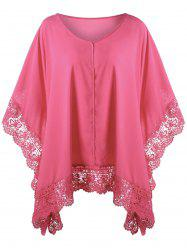 Plus Size Lace Hem Butterfly Sleeve Blouse