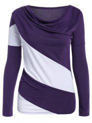 Color Block Cowl Neck Long Sleeve T-Shirt - PURPLE