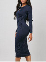 Keyhole Midi Ruched Long Sleeve Bodycon Dress