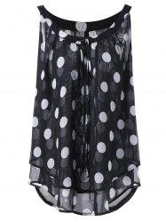 Plus Size Polka Dot Printed  Chiffon Flowy Top - BLACK