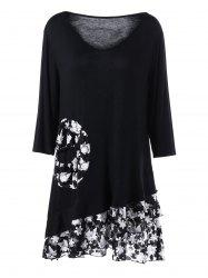 Lace Panel Ruffle Plus Size Tunic Top