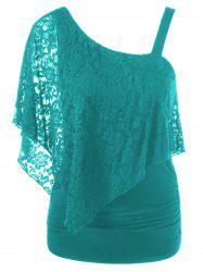 One Shoulder Lace Capelet Slimming T-Shirt