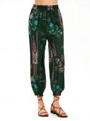 Baroque Paisley Print High Waist Harem Pants - BLACKISH GREEN