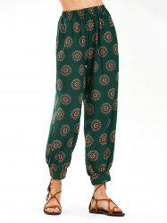 Flower Print High Waist Arab Harem Pants - BLACKISH GREEN