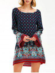 Boho Flare Sleeve Tunic Print Dress - PURPLISH BLUE