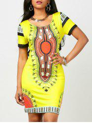 Dashiki Print Bodycon Dress (Random Print) - YELLOW