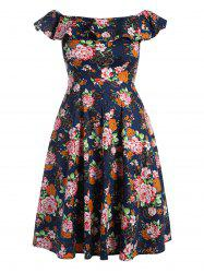 Plus Size Flounce Off The Shoulder Midi Floral Flare Dress