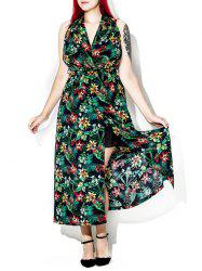 Halter Neck Backless Tropical Floral Print Long Dress