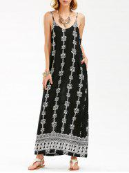 Jewelry Print Backless Maxi Slip Dress