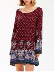 Boho Print Flared Long Sleeve Shift Tunic Dress