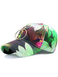 Digital Inkjet Floral Metallic Circle Baseball Hat