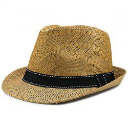 Sunproof Ribbon Splicing Woven Straw Hat - COFFEE