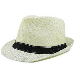Sunproof Ribbon Splicing Woven Straw Hat -