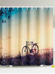 The Bike In The Sunset Fabric Shower Curtain