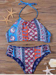 Floral High Neck Bikini Set