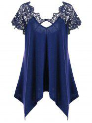 Plus Size Asymmetric Lace Panel T-Shirt