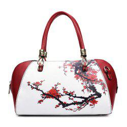 Faux Leather Flower Print Tote Bag - RED