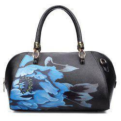 Faux Leather Flower Print Tote Bag