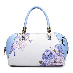 Faux Leather Flower Print Tote Bag - BLUE