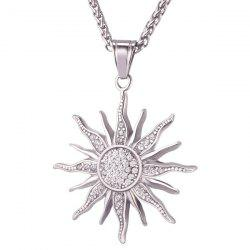 Rhinestone Stainless Steel Sun Pendant Necklace