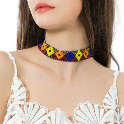 Geometric Beads Flower Elastic Choker Necklace