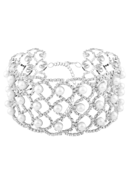 Faux Pearl Rhinestone Alloy Necklace