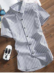 Turndown Collar Button Up Striped Shirt