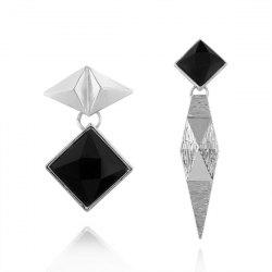 Metal Geometric Asymmetric Drop Earrings