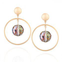 Artificial Gemstone Metal Circle Ball Drop Earrings