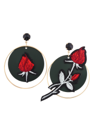 Rose Flower Circle Embroidery Drop Earrings