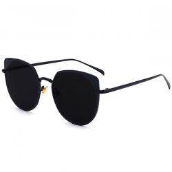 UV Protection Metallic Cat Eye Sunglasses - DOUBLE BLACK