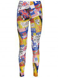American Flag Letters Print Patriotic Leggings