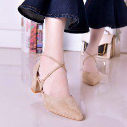 Block Heel Tie Up Pumps