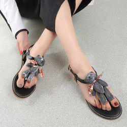 Bear T Strap Stitching Flip Flot Sandals