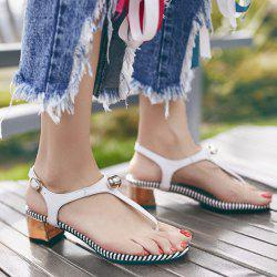 Faux Leather Block Heel Sandals