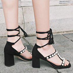Beads Lace Up Block Heel Sandals