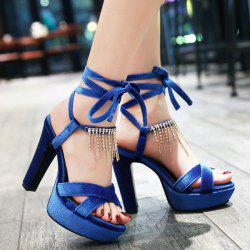 Fringe Velvet Lace Up Sandals