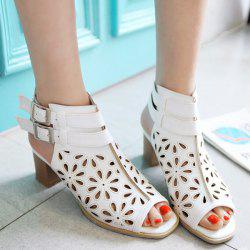 Double Belt Buckle Hollow Out Sandals