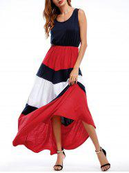Patriotic Contrast Panel High Waisted Dress - RED