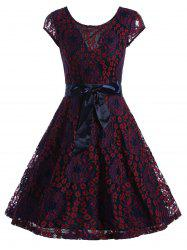 Lace Overlay Short Sleeve Belted Dress