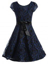 Lace Overlay Short Sleeve Belted Dress - PURPLISH BLUE