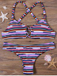 Stripe Thong Bikini Set